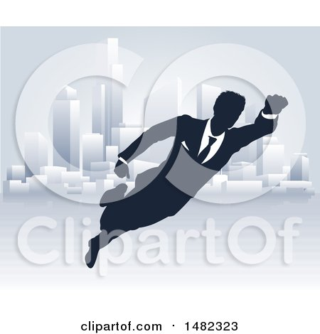 Clipart of a Black and White Silhouetted Super Businesss Man Flying near a City - Royalty Free Vector Illustration by AtStockIllustration