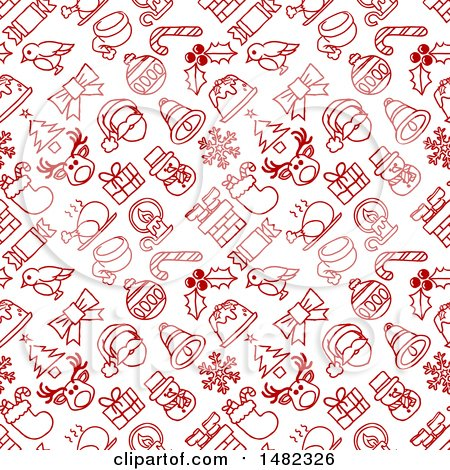 Clipart of a Red and White Seamless Christmas Pattern - Royalty Free Vector Illustration by AtStockIllustration