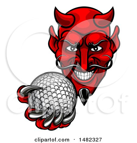 Clipart of a Grinning Evil Red Devil Holding out a Golf Ball in a Clawed Hand - Royalty Free Vector Illustration by AtStockIllustration