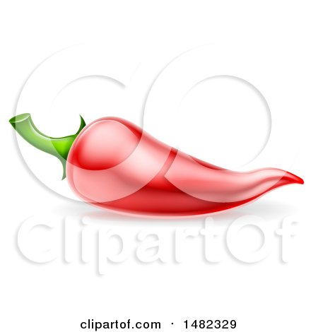 Clipart of a Red Chili Pepper - Royalty Free Vector Illustration by AtStockIllustration