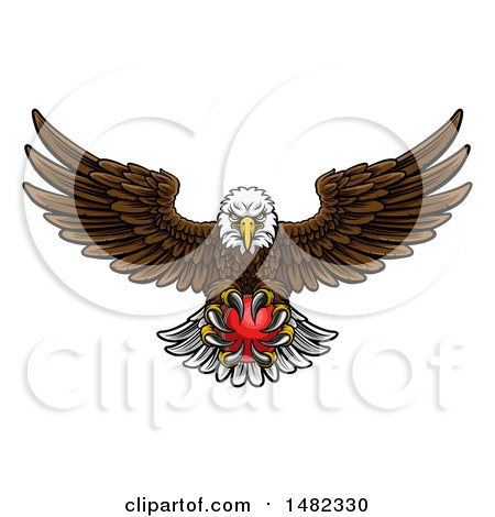 Clipart of a Cartoon Swooping American Bald Eagle with a Cricket Ball in His Talons - Royalty Free Vector Illustration by AtStockIllustration