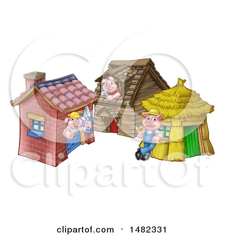 Clipart of Piggies from the Three Little Pigs Fairy Tale, at Their Brick, Wood and Straw Houses - Royalty Free Vector Illustration by AtStockIllustration