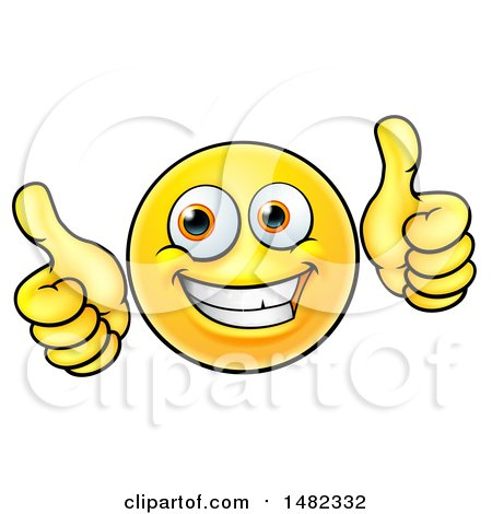 Clipart of a Cartoon Happy Yellow Emoji Smiley Face Emoticon Holding Two Thumbs up - Royalty Free Vector Illustration by AtStockIllustration