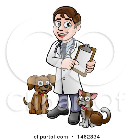Clipart of a Cartoon Happy May Veterinarian Holding a Chart and Standing with a Dog and Cat - Royalty Free Vector Illustration by AtStockIllustration