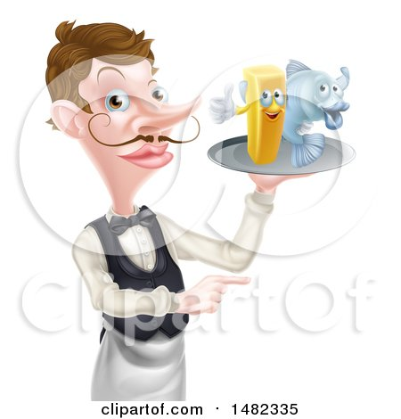 Clipart of a White Male Waiter Pointing and Holding Fish and a Chips on a Tray - Royalty Free Vector Illustration by AtStockIllustration
