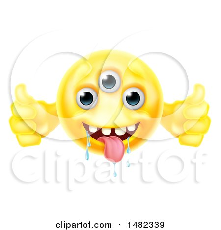 Clipart of a Yellow Drooling Alien Monster Emoji Emoticon Smiley Holding Two Thumbs up - Royalty Free Vector Illustration by AtStockIllustration