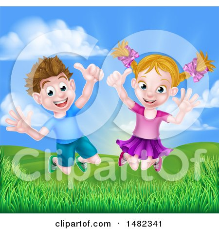 Clipart of a Cartoon Happy Excited Caucasian Boy and Girl Jumping Outdoors - Royalty Free Vector Illustration by AtStockIllustration