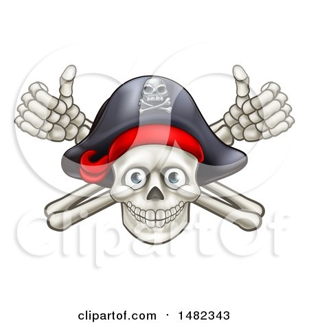 Clipart of a Pirate Skull and Cross Bones Jolly Roger, with Thumbs up - Royalty Free Vector Illustration by AtStockIllustration