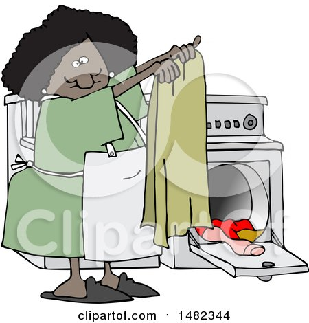 Clipart of a Cartoon Happy Black Woman Doing Laundry - Royalty Free Vector Illustration by djart
