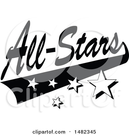 Clipart of a Black and White Sports All Stars Design with a Swoosh and Stars - Royalty Free Vector Illustration by Johnny Sajem