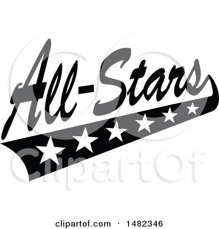 Clipart of a Black and White Sports All Stars Design with a Swoosh of Stars - Royalty Free Vector Illustration by Johnny Sajem