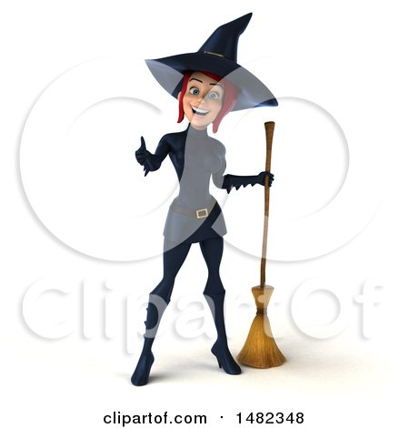 Clipart of a 3d Sexy Blue Witch Giving a Thumb Up, on a White Background - Royalty Free Illustration by Julos
