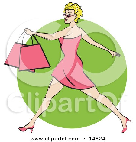 Pretty Blond Woman With Short Hair Taking Long Strides And Carrying Shopping Bags Clipart Illustration by Andy Nortnik