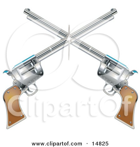 Two Shiny Pistils Forming A Cross Over A White Background Clipart Illustration
