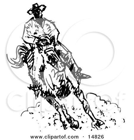 Roper Cowboy on a Horse Clipart Illustration by Andy Nortnik