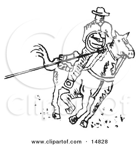 Roper Cowboy On A Horse Using A Lasso To Catch A Cow Or Horse Clipart Illustration