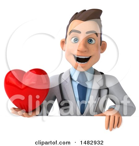 Clipart of a 3d Young White Male Doctor, on a White Background - Royalty Free Illustration by Julos