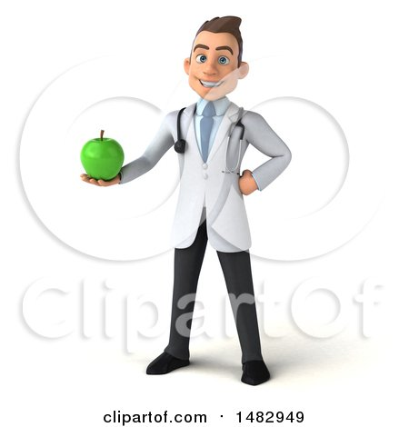 Clipart of a 3d White Male Doctor, on a White Background - Royalty Free Illustration by Julos