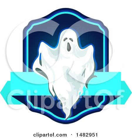 Clipart of a Halloween Ghost Label or Logo - Royalty Free Vector Illustration by Vector Tradition SM