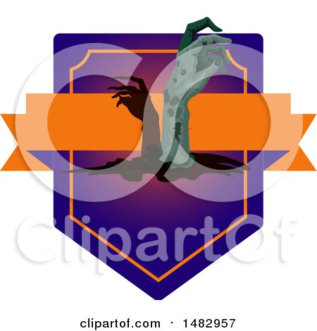 Clipart of a Halloween Rising Zombie Label or Logo - Royalty Free Vector Illustration by Vector Tradition SM
