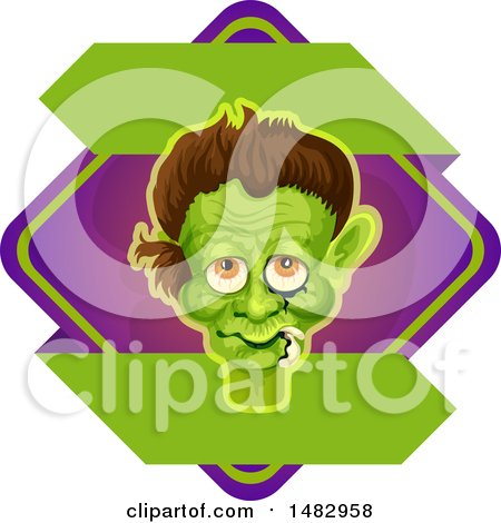 Clipart of a Halloween Frankenstein Label or Logo - Royalty Free Vector Illustration by Vector Tradition SM