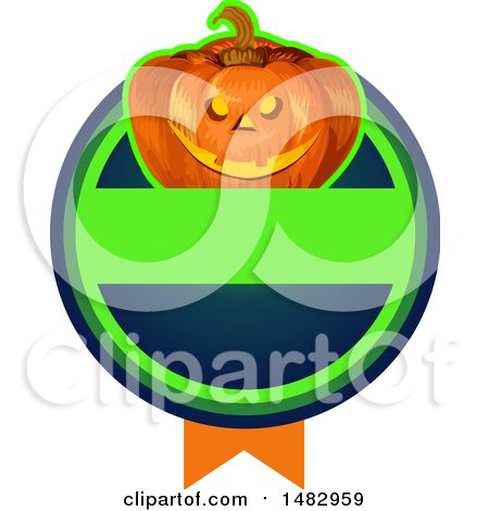 Clipart of a Halloween Jackolantern Logo or Label Design - Royalty Free Vector Illustration by Vector Tradition SM