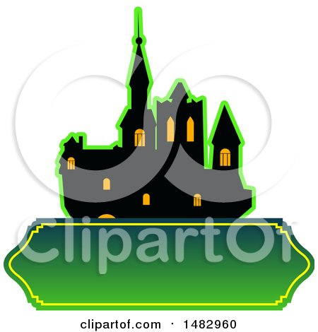 Clipart of a Halloween Castle Label or Logo - Royalty Free Vector Illustration by Vector Tradition SM