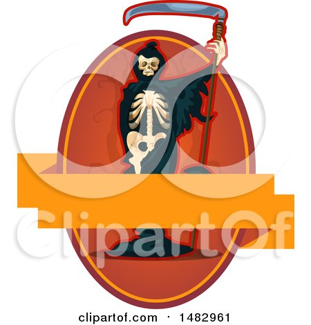 Clipart of a Halloween Skeleton Grim Reaper Label or Logo - Royalty Free Vector Illustration by Vector Tradition SM