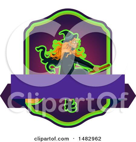 Clipart of a Halloween Witch Label or Logo - Royalty Free Vector Illustration by Vector Tradition SM