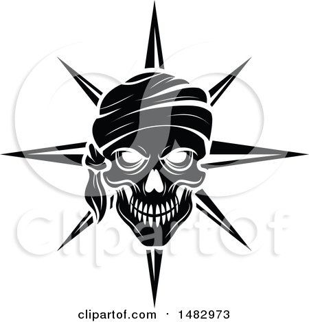 Clipart of a Black and White Pirate Skull and Compass Star - Royalty Free Vector Illustration by Vector Tradition SM