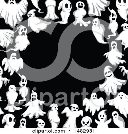 Clipart of a Halloween Ghost Border - Royalty Free Vector Illustration by Vector Tradition SM