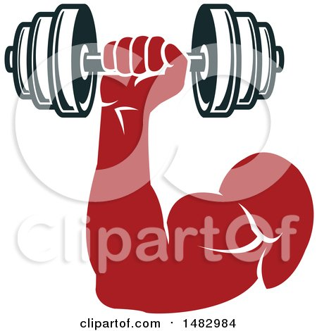 Clipart of a Bodybuilder's Arm Working out with a Dumbbell - Royalty Free Vector Illustration by Vector Tradition SM