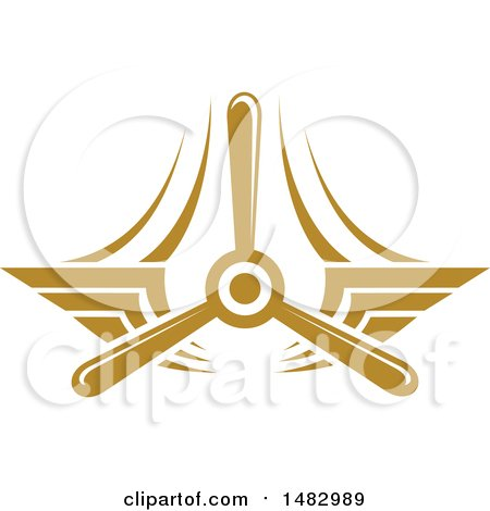 Clipart of a Tan Airplane Propeller and Wings Design - Royalty Free Vector Illustration by Vector Tradition SM