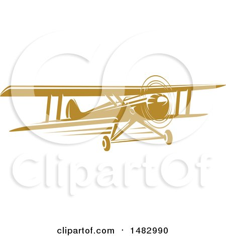 Clipart of a Tan Biplane Design - Royalty Free Vector Illustration by Vector Tradition SM