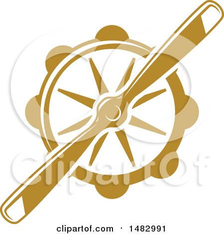 Clipart of a Tan Airplane Propeller Design - Royalty Free Vector Illustration by Vector Tradition SM