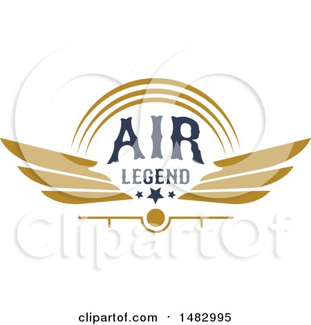Clipart of a Tan Airplane Propeller, Wings and Text Design - Royalty Free Vector Illustration by Vector Tradition SM
