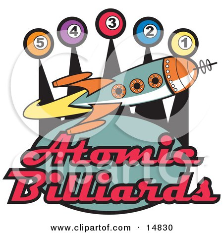Space Rocket Flying Past Pool Balls On A Vintage Atomic Billiards Sign Clipart Illustration by Andy Nortnik