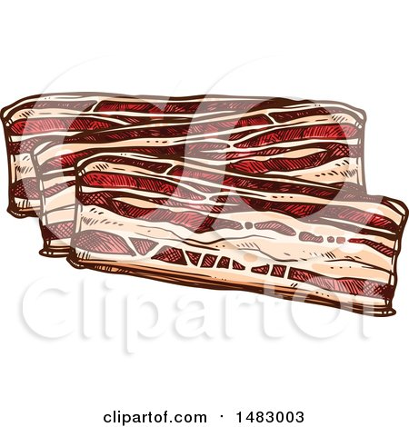 Clipart of Sketched Bacon Slices - Royalty Free Vector Illustration by Vector Tradition SM