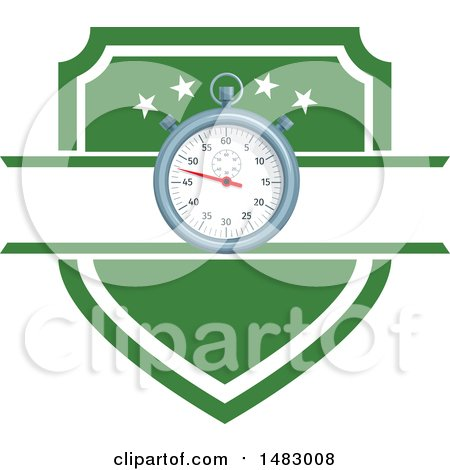 Clipart of a Soccer Stopwatch and Shield Design - Royalty Free Vector Illustration by Vector Tradition SM
