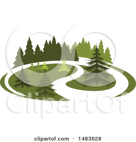 Clipart of a Green Landscape with Evergreen Trees - Royalty Free Vector Illustration by Vector Tradition SM
