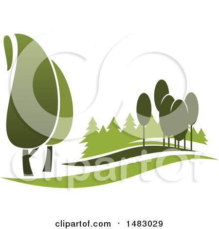 Clipart of a Green Landscape with Trees - Royalty Free Vector Illustration by Vector Tradition SM
