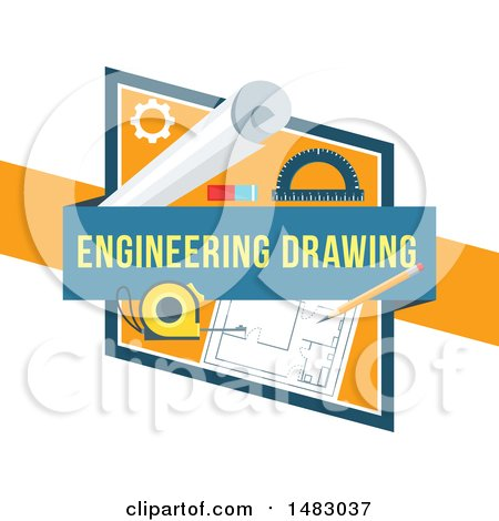 Clipart of a Blueprints Engineering Drawing Design - Royalty Free Vector Illustration by Vector Tradition SM
