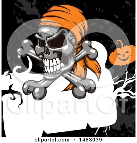 Clipart of a Pirate Skull and Crossbones over a Frame and Grunge with a Jackolantern - Royalty Free Vector Illustration by Vector Tradition SM