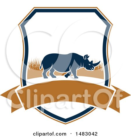 Clipart of a Rhino Hunting Shield - Royalty Free Vector Illustration by Vector Tradition SM