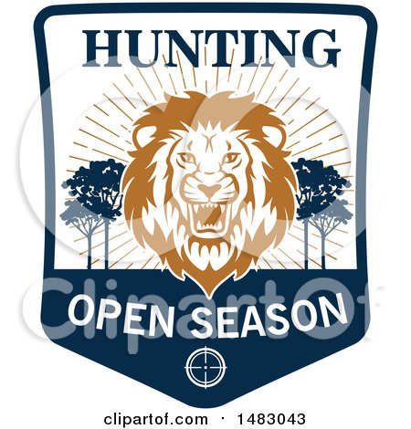 Clipart of a Roaring Male Lion Hunting Open Season Shield - Royalty Free Vector Illustration by Vector Tradition SM