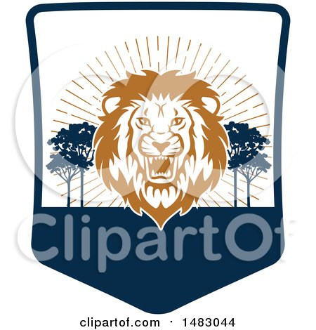 Clipart of a Roaring Male Lion Shield - Royalty Free Vector Illustration by Vector Tradition SM