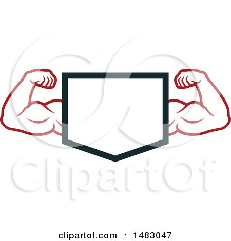 Clipart of a Bodybuilder's Arms Flexing Around a Shield - Royalty Free Vector Illustration by Vector Tradition SM