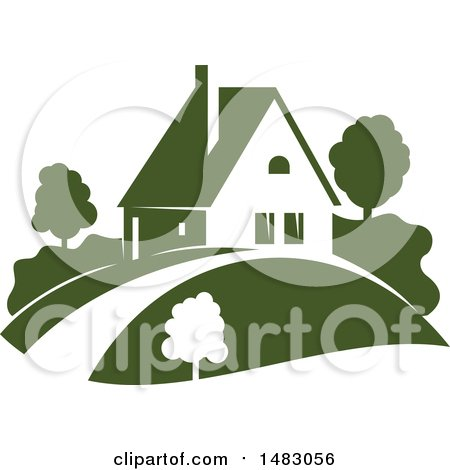 Clipart of a Green Home and Yard Design - Royalty Free Vector Illustration by Vector Tradition SM