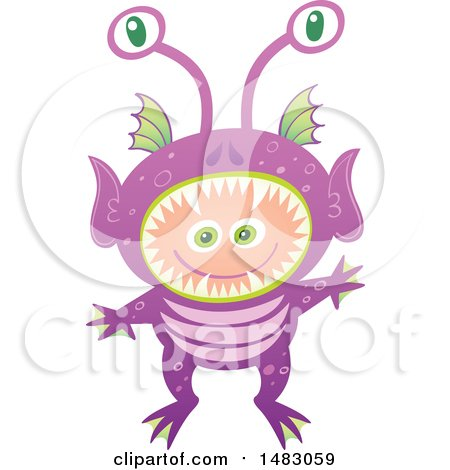 Clipart of a Boy in an Alien Halloween Costume - Royalty Free Vector Illustration by Zooco