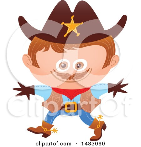 Clipart of a Boy in a Cowboy Sheriff Halloween Costume - Royalty Free Vector Illustration by Zooco